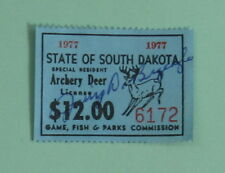 1977 South Dakota Special Resident Archery Deer Hunting License Permit Stamp