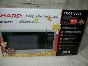 SHARP - 	SMC1132CS 1.1 cu. ft.- countertop mid size microwave - stainless steel