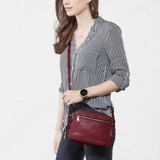 Fossil Piper Toaster Crossbody Lamb Hide Leather In Wine Soft Pebbled Leather
