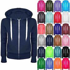 Plus Size Ladies Plain Hoody Girls Zip Top Womens Hoodies Sweatshirt Jacket