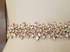 Wedding Bridal Sash Belt, Light ROSE GOLD Crystal Sash Belt = 18 inch long
