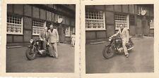 2x Foto Triumph Motorrad vor Gaststätte Halter Pforte,Marl,Krad,Restaurant