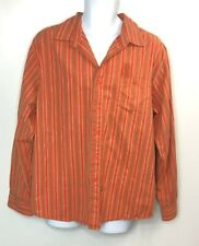 No Boundaries Men's Button Front Long Sleeve Striped Orange Tan Shirt Size Large