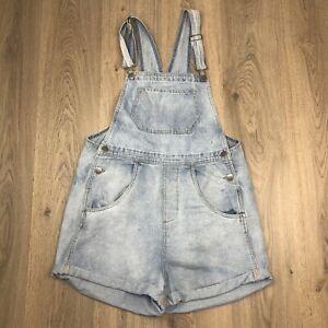 Cotton On Denim Overalls Shortalls Size 12 Blue Light Wash A4