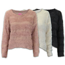 Ladies Jumper Womens Knit Cable Long Sleeves Stretchy Faux Fur Warm Stylish