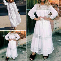 Women Long Sleeve Hollow Plain Evening Formal Dresses Long Maxi Dress Plus Size