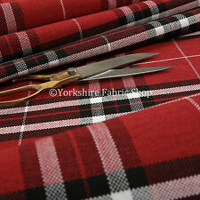 Quality Hard Wearing New Plaid Tartan Stripe Chenille Upholstery Fabric In Red