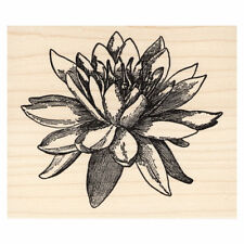 Large Water Lily Flower Beeswax Rubber Stamp Mounted Scenic Landscape