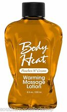 Body Heat Peaches n Cream Edible Warming Massage Lotion 8 oz by Pipedream