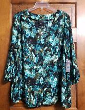 Covington Women Teal Floral Blouse Button Up Easy Care Womens 2X New