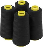 4Pcs 6000 Yards Quality Overlocking Sewing Machine Polyester Thread Cone, Black