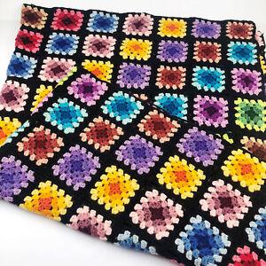"Vintage Granny Square Afghan Blanket Crochet Throw Black Multicolor 44"" x 62"""