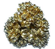 "1.75"" FLORA DANICA EGGERT DENMARK STERLING SILVER GOLD FINISH FLOWER BROOCH PIN"