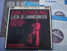 Set 212 Donizetti Lucia di Lammermoor Sutherland Pritchard Reino Unido Decca WB + NB nr/M