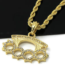 "Mens Gold Iced Cz Knuckle Duster Pendant 24"" Rope Chain Hip Hop Necklace D491"