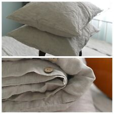 DUVET COVER set & pillow with envelope closures natural color Stone Washed Seam