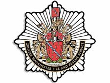 4x4 inch Greater Manchester FIRE Badge Shaped Sticker -logo crest uk england gmf