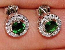 Sterling Silver (925) Russian Diopside Halo Cluster Stud Earrings