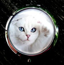 New White Cat Blue Eyes Mirror Makeup compact