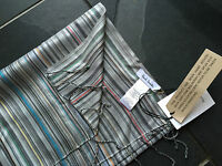Paul Smith MAINLINE Grey MultiStripe 100% Silk Scarf Men New  190cm x 22cm
