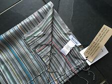 Paul Smith MAINLINE Grey MultiStripe 100% Silk Scarf Men New  190cm x 22cm
