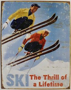Skiing Art Poster Metal Sign Snow Sports Alpine Snowboard New Vintage Repro USA