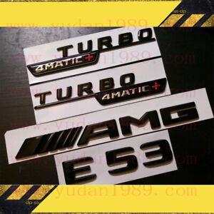 Mercedes Benz E53 Coupe AMG Emblem TURBO 4MATIC+ Fender Badge Glossy Black Set
