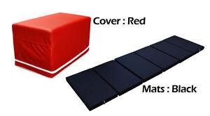 MULTI PURPOSE S.LEATHER MAGIC BOX YOGA GYM CUSHION FOLDABLE MATS RED COLOR