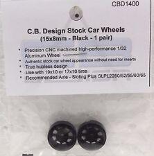 CB DESIGN 1400 NASCAR BLACK ALUMINUM WHEELS 15mm x 8mm - NEW 1/32 SLOT CAR PART