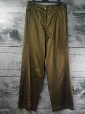Olsen Europe Anna Women's Flare Belly Button Pants Shiny Olive Green Sz 8