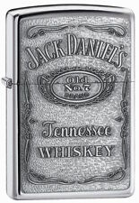"Zippo Emblem Lighter ""Jack Daniels Label"" No 250JD 427 - New on Black Ice Chrome"
