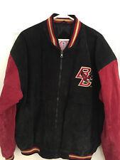Vtg 90s Boston College Suede Leather Jacket Men Med Black Red Eagles Official BC