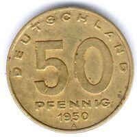 """DDR 50 Pfennig 1950 A. (Alu.-Bronze) """"Fabrik/Pflug"""" Jaeger 1504, fast vz"""
