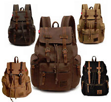 Vintage Travel Canvas Leather Backpack Sport Rucksack Satchel School Hiking Bag