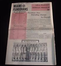 April 7, 1969 ABA Playoff Program-Minnesota Pipers @ Miami Floridians