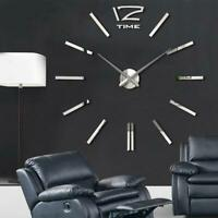 DIY Extra Large Wall Clock 3D Mirror Surface Sticker Living Room Decor Silver BE