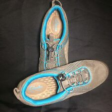 Privo Clarks Tennis Shoes Womens 7.5 Leather Trim Gray Bright Blue Walk Sport