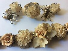 Colleen Toland Cream resin flowers roses bracelet, earrings, ring. Set