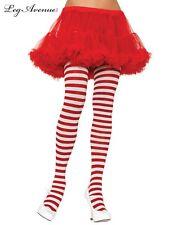 leg avenue costume tights stockings Xmas Red White Striped PLUS size 3X 4X 7100Q