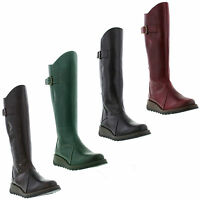 Fly London Mol 2 Womens Leather Zip Up Knee High Wedge Boots Size UK 4-8