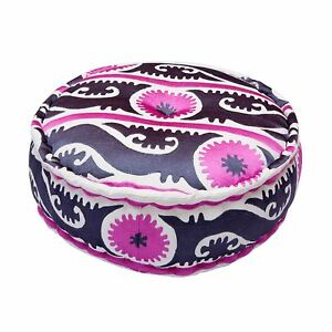 Bombay Duck - Suzani Embroidered Cotton Pouff/Stool - Magenta/Grey - 60x20cms