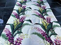 SALE! Hawaiian Dendrobian Orchids Barkcloth Vintage Fabric Drape Curtain 30s 40s