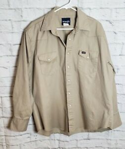 Wrangler Khaki Shirt XL Pearl Snap Work Long Sleeve Western Cotton,Nice! EUC