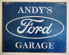 ANDY'S FORD GARAGE, TIN PLATE SIGN, ESCORT, ZEPHYR, CORTINA, POP, CONSUL,