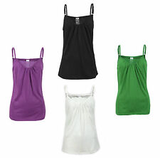 Women's Cotton Blend No Pattern Classic Vest Top, Strappy, Cami Tops & Shirts