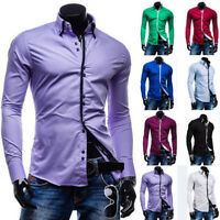 Luxury Mens Stylish Slim Fit Shirt Long Sleeve Collar Casual Dress Shirts Top #