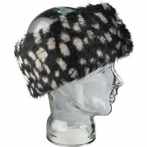 Head Band Ladies Faux Fur Black White Spots Winter Fashion Ear Warmer Headband