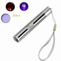 Mini 3in1 Multifunction USB Rechargeable UV LED Laser Light Flashlight Lamp