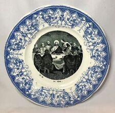 Creil Montereau Jesus The Last Supper Antique Catholic Christian Plate France