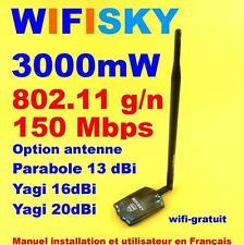 Carte Wifisky 3000 mW g/n 150 Mbps antenne 11 dBi